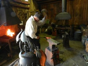 Blacksmith Ron Shannon at Fort Crook Museum