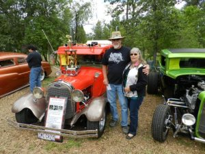 Tom and Jana Abacheri stand by thier best of show 1928 Ford