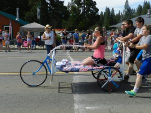 Bed Racers Crossing the Finish Line