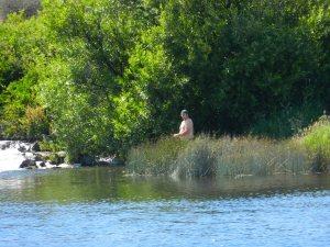 Fisherman on Baum Lake by PCT Trail