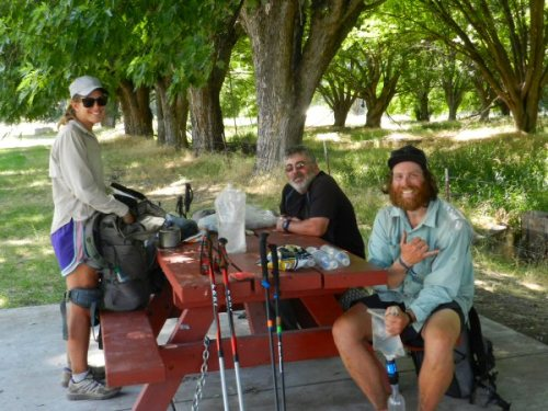 Happy PCT hikers rehydrating