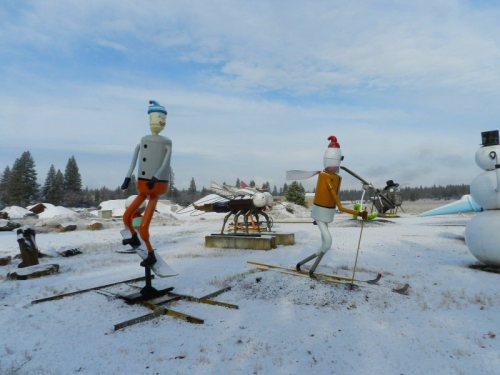 Metal skiers enjoying the snow