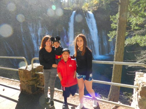 Micky Mouse and family at Burney Falls