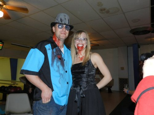 Victim Robert Evans with vampire Clarissa McDonald