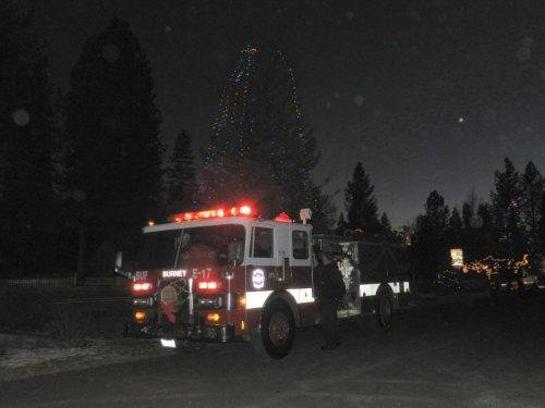 Santa arrived in a firetruck
