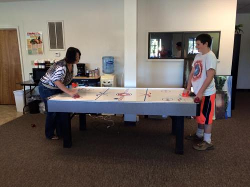 Air hockey table at teen center in Burney Photo courtesy of Intermountain Teen Center