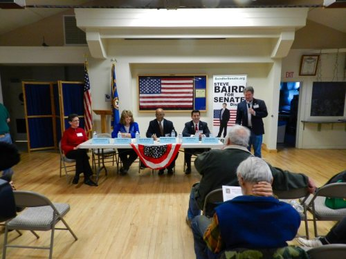 Candidates night at the Vets Hall - left to right - Janet Chandler, Mary Rickert, Gregory Cheadle, Joe Montes, and Steve Baird