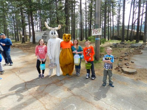 Easter Bunny and Poo Bear at the Lions Club egg hunt