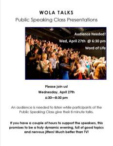 Audience needed for public speaking presentations
