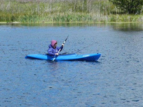 Fishing while kayaking