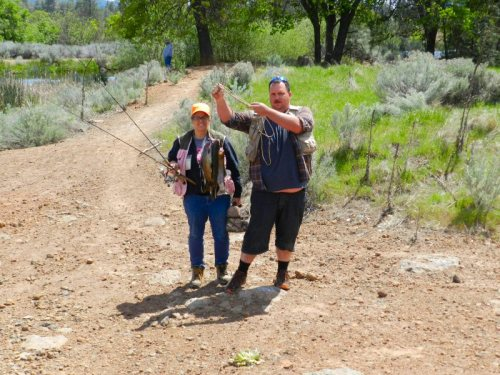 Glenn and Angie Reilly from Happy Valley with five nice native trout