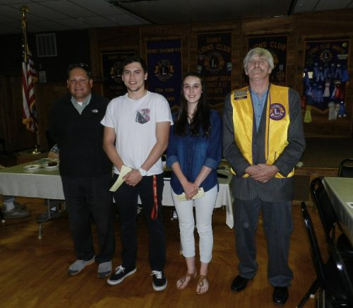 BHS Principal Ray Guerrero, Kyler Mancs,Paris Deaton-Geisler, and Lion George Whitfield