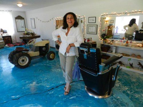 Christine Farber in the barber shop
