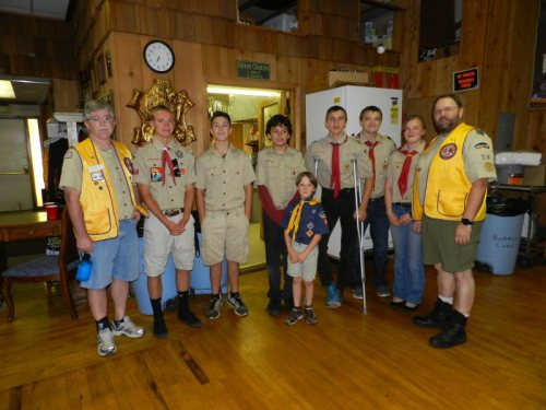 Boy Scout Troop 38 Bill Ford, Bryce Ford, El Urlie, Noah bishop, Mateo Johnston, Thomas Chapman, James Chapman, Rebecca Chapman, George Chapman