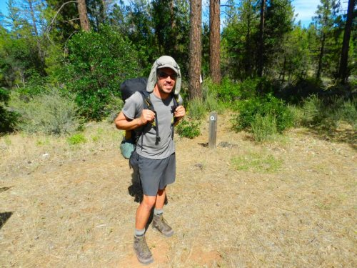 PCT hiker Mike Harrigan at the 299 trailhead