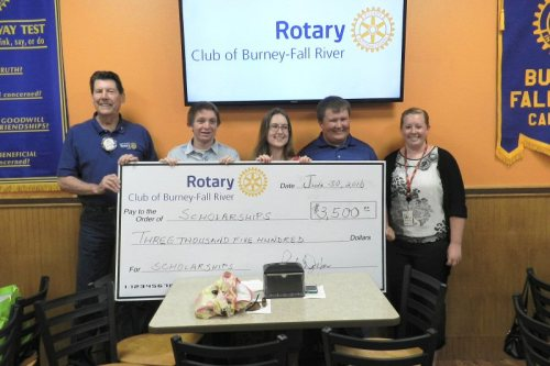 Rotary President Bob Jehn with scholarship recipients Cameron Piersson, Jessica Staden, Wes Woolery, and Mariah Meier