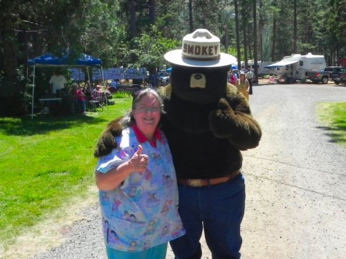 Linda with Smokey the Bear