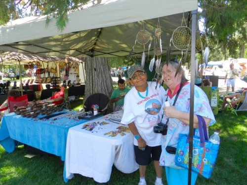 Navaho artist Pauline Ludwick pauses for a photo with Linda
