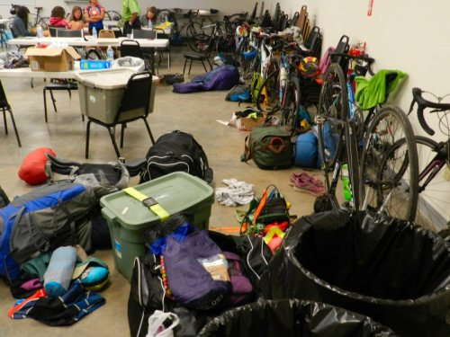 Bikes and bags in the community senter