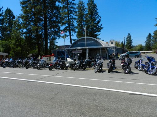 Bikes lined up in front of the Vets Club