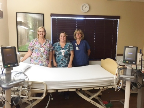 Outpatient medical bed and vital sign monitors