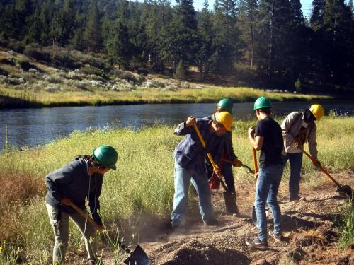 Trail improvement along Hat Creek