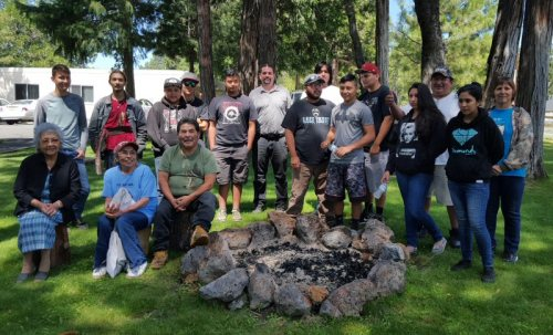Tribal Youth, Elders, and Program Partners on opening day of the Pit River Tribal Ecosystem Workforce Training Program
