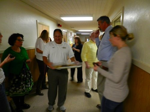 BHS High School Principal Ray Gurerrero handing our cookies to new teachers