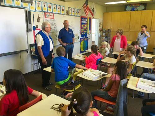 Ed Siegel and Jim Billo addressing students at Big Valley Elementary