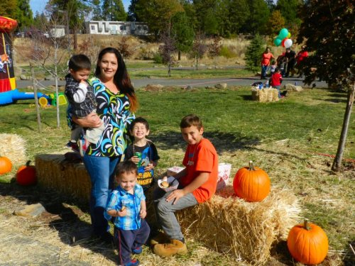 Christina Torrez with her children Nathan, Juliean, Michael, and Lucas enjoying the beautiful Fall day