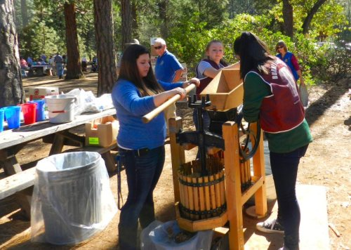 Folks made lots of delicious cider at the apple press
