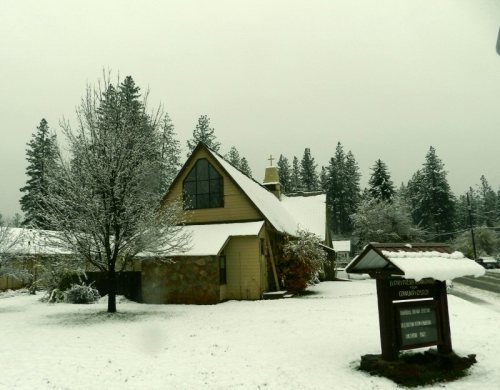 Burney Presbyterian Church after the first snow