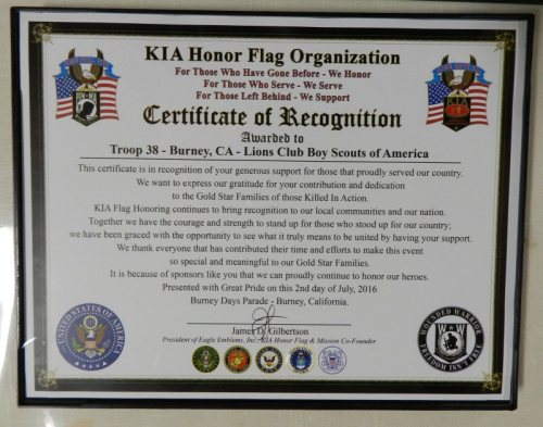 Certificat of Recognition from KIA to Boy Scout Troop 38