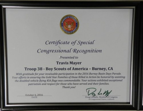 Certificate of Congressional Recognition presented to Travis Mayer