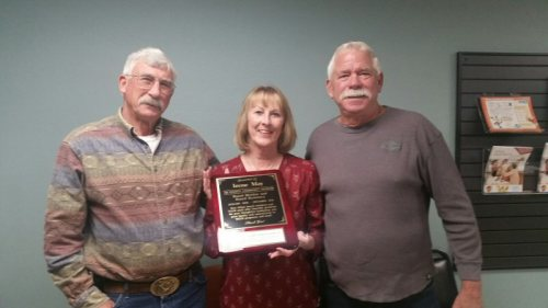 Irene May with Board President Bob Moore (R) and Board Vice President Jean Rodgers (L)