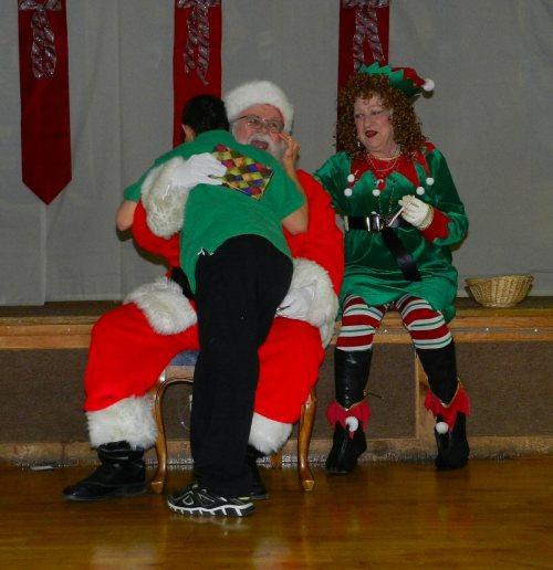 Santa gets a hug