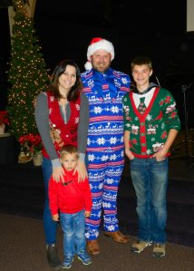 Ugly Sweater Winner Wilson Tyler with wife Elizaberh and sons Sebastion and Wyatt