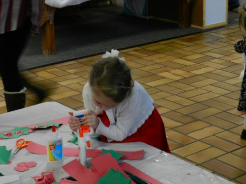 Working on Christmas crafts